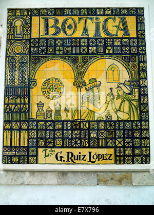 A chemist shops mosaic sign in Cordoba - Stock Image