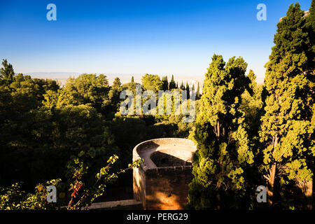 View over the surrounding countryside from the Alhambra Palce in Granada Spain - Stock Image