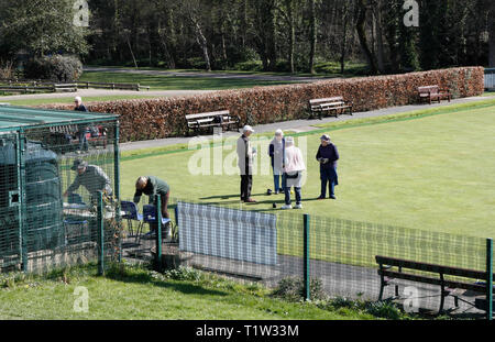 Group of people playing Bowls, Millhouses Park, Sheffield England UK - Stock Image