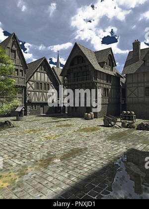 Medieval European or Fantasy Town Square - Stock Image