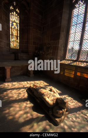 Budworth Village, St Marys Church statue, gt Budworth Cheshire England UK - Stock Image