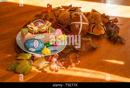 Easter tableau in a family home in Melbourne, Australia - Stock Image