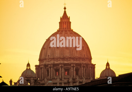 Italy Rome St Peter s Basilica at twilight silhuette  - Stock Image