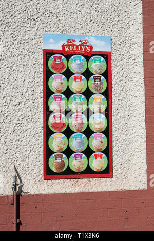 Flavours of Kelly's Ice Cream for sale - Stock Image