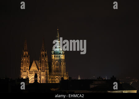 Saint Vitus' Cathedral in Prague, Czech Republic, at night. - Stock Image