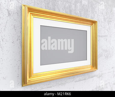 Angled Vintage Gold Frame with passe-partout on Angled wall. Rough Concrete. Blank for Copy Space. - Stock Image