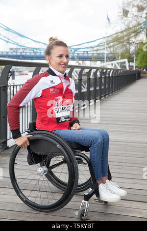 London, UK. 25th Apr 2019. Manuela Schar(SUI) attends The London Marathon Wheelchair Athletes Photocall which took place outside the Tower Hotel with Tower Bridge in the background ahead of the Marathon on Sunday. Credit: Keith Larby/Alamy Live News - Stock Image