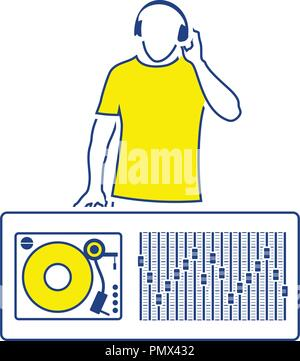 DJ icon. Thin line design. Vector illustration. - Stock Image