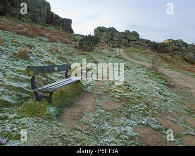A Frosty Winter Morning on Ilkley Moor West Yorkshire UK - Stock Image
