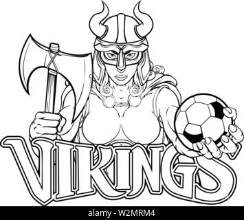 Viking Female Gladiator Soccer Warrior Woman - Stock Image