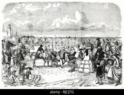 Victorian mainly women and children having a ride on carriage around the beach. - Stock Image