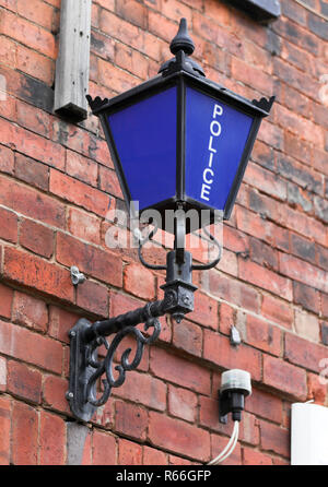 Old fashioned Police lamp outside Police Station - Stock Image