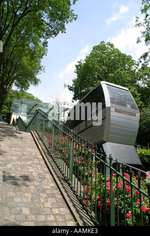 The funicular railway at Sacre Couer Montmartre Paris France - Stock Image