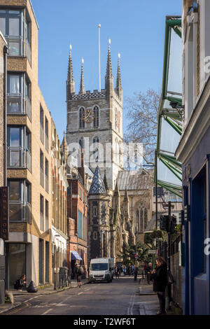 View of Southwark Cathedral from Winchester Walk next to Borough Market, Southwark, London, UK - Stock Image