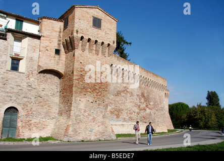the 14th century historic walls of the beautiful hilltown of Jesi in Le Marche, Italy are built on Roman foundations - Stock Image