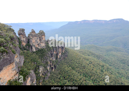 KATOOMBA, Australia - A wide-angle shot of the Three Sisters in the Blue Mountains as seen from Echo Point in Katoomba, - Stock Image
