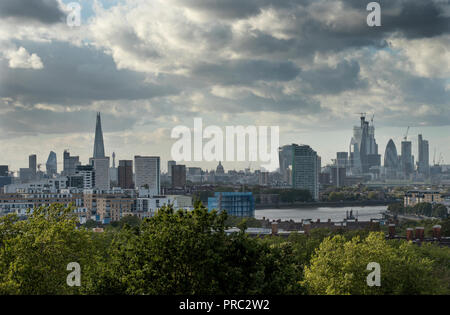 London Panorama from Greenwich Park, England UK. 22 September 2018 - Stock Image