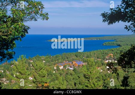 Copper Harbor a historic harbor on shore of Lake Superior, Keweenaw Peninsula, Michigan, AGPix_0638 - Stock Image