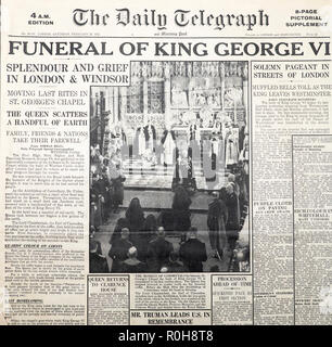 King George VI Funeral 1952 in The Daily Telegraph newspaper  'Funeral of King George VI'  front page headline London England UK February 16 1952 - Stock Image
