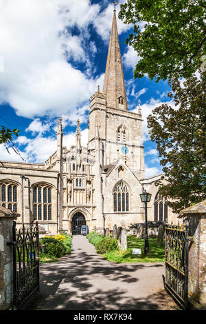 A typical English country church in the Cotswold town of Burford in Oxfordshire. - Stock Image