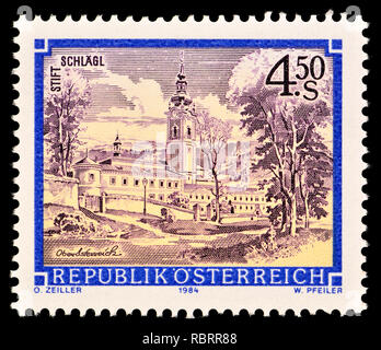 Austrian postage stamp (1984) : Monasteries and Abbeys series: Premonstratensian Abbey, Schlägl / Stift Schlagl - Stock Image