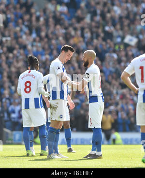 An emotional Bruno Saltor (right)  hands over the captains armband to Lewis Dunk as he is substituted during the Premier League match between Brighton & Hove Albion and Manchester City  at the American Express Community Stadium 12 May 2019 Editorial use only. No merchandising. For Football images FA and Premier League restrictions apply inc. no internet/mobile usage without FAPL license - for details contact Football Dataco - Stock Image