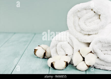 Rolled up white fluffy towels with cotton flowers against a blurred blue background with free space for text. - Stock Image
