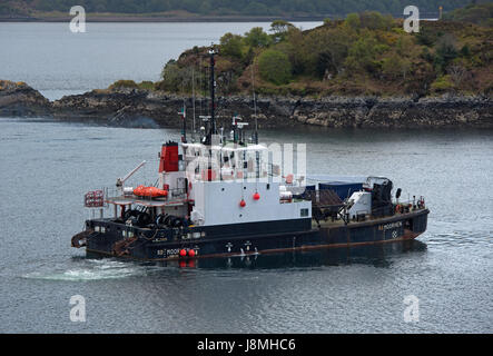 SD Moorhen Support Diving vessel working out from Kyle of Lochalsh Isle of Skye. - Stock Image
