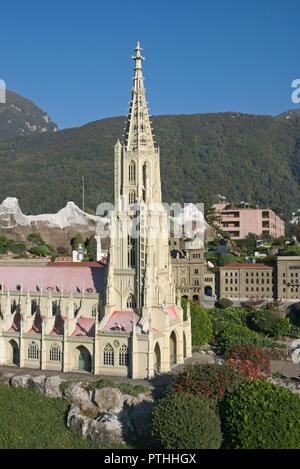 Bern cathedral scale model at Swissminiatur in Melide, Switzerland - Stock Image