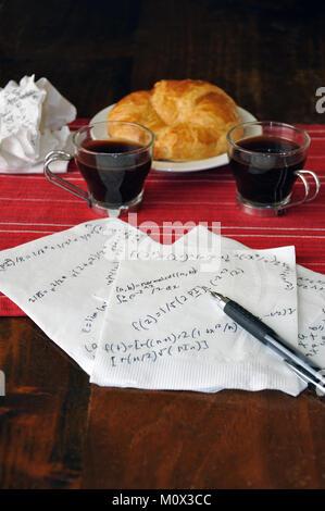 Math formulas on napkin at a cafe - Stock Image