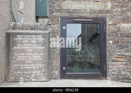 Login's well, Stromness, sealed up in 1931, later opened up behind a glass door - a source of fresh water for sailing ships - Stock Image