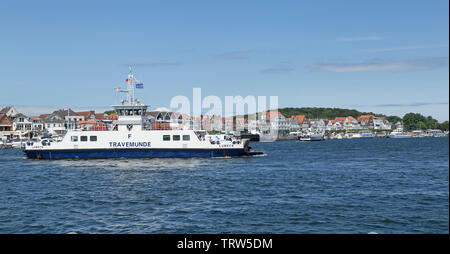 car ferry, Priwall, Travemuende, Schleswig-Holstein, Germany - Stock Image