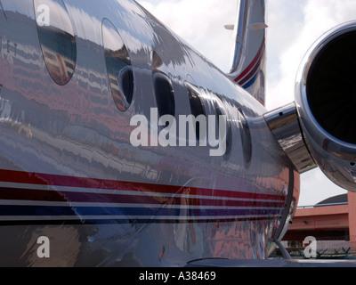 Executive jet at Asian Aerospace Changi Exhibition Centre Singapore - Stock Image