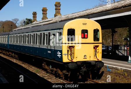 Preserved class 207 DEMU 1317 at Eridge station, Spa Valley Railway - Stock Image
