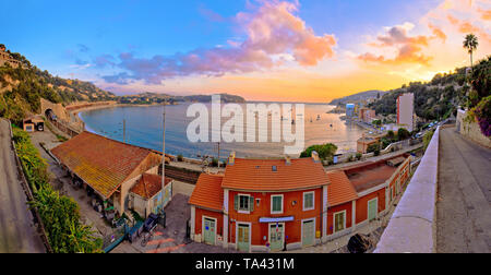 Villefranche sur Mer idyllic French riviera town sunset panoramic view, Alpes-Maritimes region of France - Stock Image