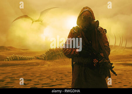 Grimy post apocalypse survivor standing in the nuclear wastelands. - Stock Image