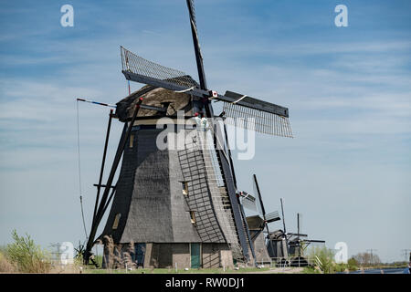 Netherlands, Kinderdijk, 2017, Iconic heritage site with 19 windmills from the 1700s & museum exhibits about water management. - Stock Image