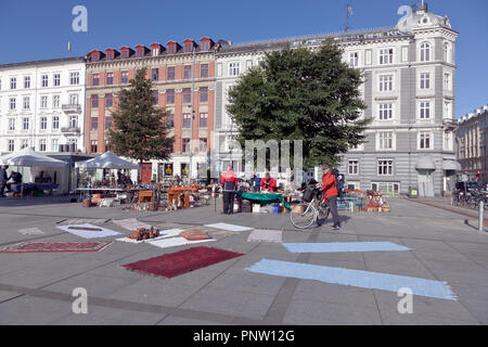 Saturday flea market on Israels Plads, Israel's Square, in Copenhagen. - Stock Image