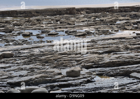 Slate ledging on Newport Beach in Wales with the sky reflecting a pale blue in the rock pools. - Stock Image