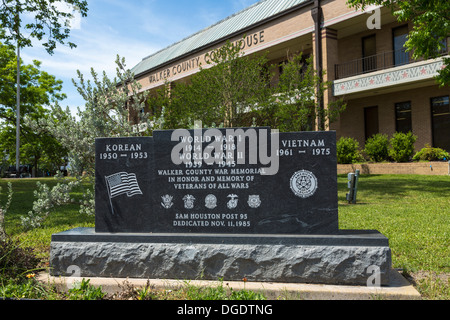 Walker County War Memorial Huntsville Texas USA - Stock Image
