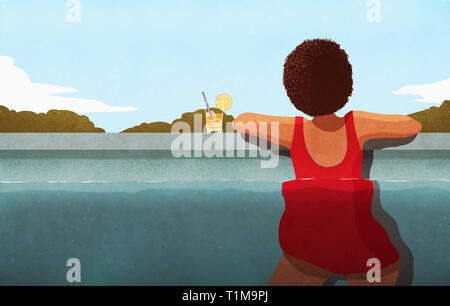 Woman relaxing in swimming pool with cocktail - Stock Image