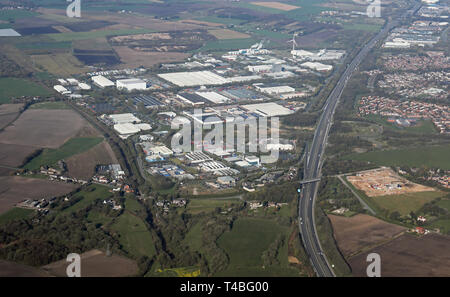 aerial view of Pimbo Industrial Estate (Orbit Developments), Skelmersdale, Wigan, Lancashire - Stock Image