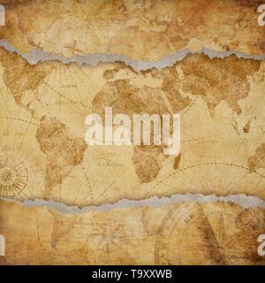 Vintage torn worn world map illustration - Stock Image