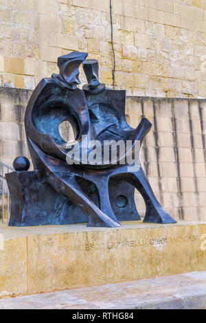 Monument to Francesco Laparelli and Girolamo Cassar, the two architects who designed the new city of Valletta after the Great Siege of 1565 - Malta. - Stock Image
