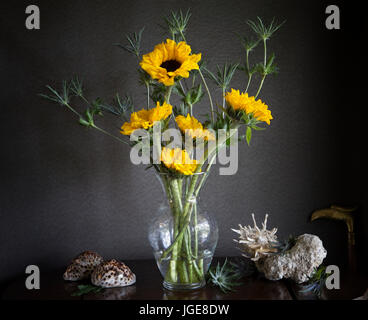 A Still Life arrangement of yellow sunflowers with tiger cowries and spondylus with painterly effects and dark patterned - Stock Image