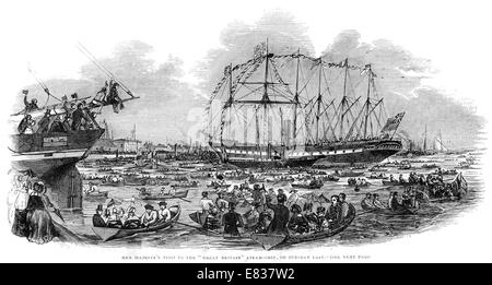 Queen Victoria visit to Steam ship Great Britain 1844 - Stock Image