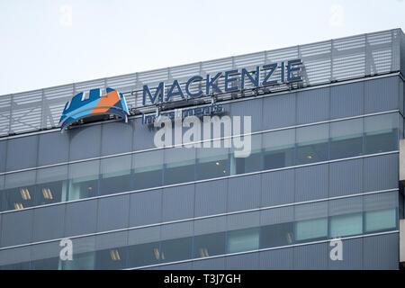 TORONTO, CANADA - NOVEMBER 13, 2018: Mackenzie Investemnts logo in front of their headquarters in Toronto, Canada. Mackenzie is a Canadian investment  - Stock Image