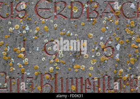 Year 1916 carved in stone covering with moss. The years of World War I. - Stock Image