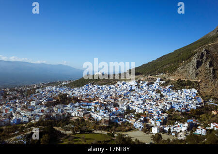 Chefchaouen, Morocco : General view of the medina old town well noted for its blue-washed architecture. - Stock Image