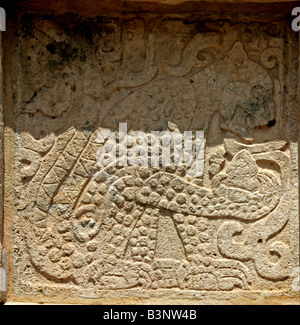 Detail of Jaguar Carving on the Platform of the Eagles and Jaguars, Chichen Itza, Yucatan Peninsular, Mexico - Stock Image